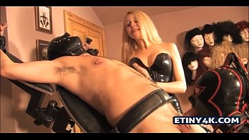 extreme and mistress couple slave Penis pump in use